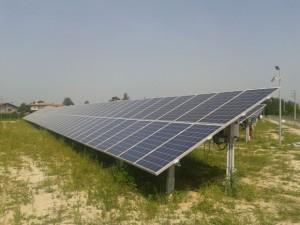 Particolare pannello fotovoltaico a terra Portogruaro Venezia